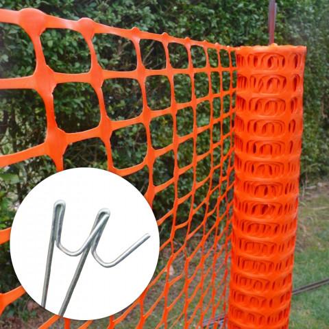 Absperrzaun-Kunststoff Bauzaun-Sicherheitszaun-orange-MEDIUM-paket-mit-stahlstangen_5181