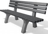 hanit® Sitzbank Trafalgar Square, Recycling-Kunststoff wetterfest; 2m; grau-schwarz
