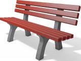 hanit® Sitzbank Trafalgar Square, Recycling-Kunststoff wetterfest; 2m; grau-rot