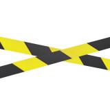 Warnband, Absperrband schwarz/gelb, 70mm x 500m,schraffiert