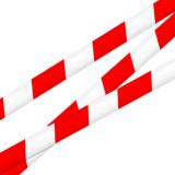 Warnband, Absperrband rot/weiß, 70mm x 500m, schraffiert