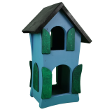 Großes Vogelhaus aus Holz, handgefertigt aus WfbM-Produktion, 25 x 19 x 41cm, blau