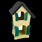 Großes Vogelhaus aus Holz, handgefertigt aus WfbM-Produktion, 25 x 19 x 41cm, gelb